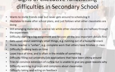 Signs of Executive Functioning difficulties in Secondary School